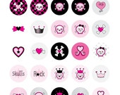 Skulls and Hearts - 1 inch Circle Digital Collage Sheet - Commercial use for Cupcake Toppers, Magnets, Paper Crafts and Products
