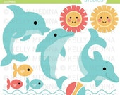 Dolphins - Clip Art Set - Digital Elements Commercial use for Cards, Stationery and Paper Crafts and Products