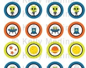 Aliens - Clip Art 1.5 inch Circle Digital Collage Sheet - Commercial use for Cupcake Toppers, Magnets, Paper Crafts and Products