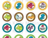 Dinosaur 2 - Clip Art 1.5 inch Circle Digital Collage Sheet - Commercial use for Cupcake Toppers, Magnets, Paper Crafts and Products