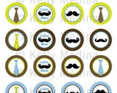 Ties and Mustaches - 1.5 inch Circle Digital Collage Sheet - Commercial use for Cupcake Toppers, Magnets, Paper Crafts and Products