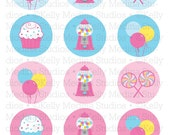 Candy Shoppe - 2 inch Circle Digital Collage Sheet - Commercial use for Cupcake Toppers, Magnets, Paper Crafts and Products