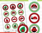 Ladybug - 2 inch Circle Digital Collage Sheet - Commercial use for Cupcake Toppers, Magnets, Paper Crafts and Products