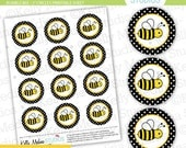 Bumble Bee - Black - 2 inch Circle Digital Collage Sheet - Commercial use for Cupcake Toppers, Magnets, Paper Crafts and Products