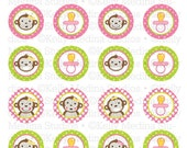 Monkey Girl Baby Shower - 1.5 inch Circle Digital Collage Sheet - Commercial use for Cupcake Toppers, Magnets, Paper Crafts and Products