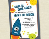 Outer Space Boy Birthday - Printable Digital Invitation - Personal Use Only