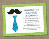 Custom Little Man Blue and Green 01 - Printable Digital Invitation - Personal Use Only