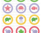 Sea Animals Pastels - 2 inch Circle Digital Sheet - Commercial use for Cupcake Toppers, Magnets, Paper Crafts and Products