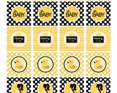 Mommy To Be - Yellow and Black - 1.5 inch Circle Printable Sheet - Commercial use for Cupcake Toppers, Magnets, Paper Crafts and Products