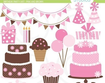 Birthday Party Clip Art Set - Pink and Brown