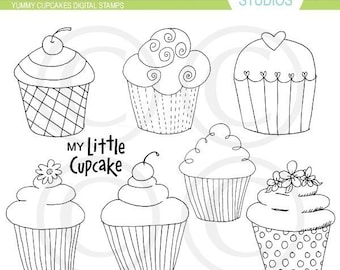 Yummy Cupcake Digital Stamps Clip Art Set