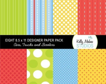 Cars, Trucks, and Scooter - Designer Paper Pack Set Digital Elements for Cards, Stationery and Paper Crafts and Products