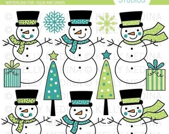 Winterland Fun - Aqua and Green Clip Art Set - Digital Elements Commercial use for Cards, Stationery and Paper Crafts and Products