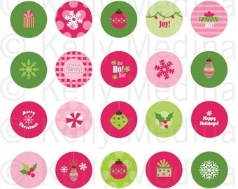"Christmas - Pink and Green - Clip Art 1.313"" Circle Digital Collage Sheet - Commercial use for Buttons, Magnets, Paper Crafts and Products"