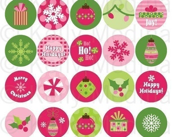 Christmas - Pink and Green - Clip Art 1.5 Circle Digital Sheet - Commercial use for Cupcake Toppers, Magnets, Paper Crafts and Products