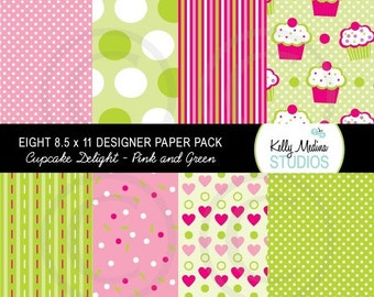 Cupcake Delight - Pink and Green - Designer Paper Pack Set Digital Elements for Cards, Stationery and Paper Crafts and Products
