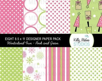 Winterland Fun - Pink and Green - Snowman - Designer Paper Pack Set Digital Elements for Cards, Stationery and Paper Crafts and Products