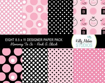 Mommy To Be - Pink and Black - Designer Paper Pack Set Digital Elements for Cards, Stationery and Paper Crafts and Products