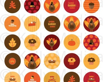 Thanksgiving - 1.313 inch Circle Digital Collage Sheet - Commercial use for Buttons, Magnets, Paper Crafts and Products