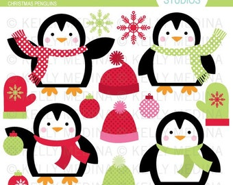 Christmas Penguins - Clip Art Set - Digital Elements Commercial use for Cards, Stationery and Paper Crafts and Products