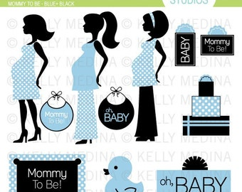 Mommy To Be - Blue and Black - Clip Art Set - Digital Elements Commercial use for Cards, Stationery and Paper Crafts and Products