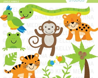 Jungle Animals - Clip Art Set - Digital Elements Commercial use for Cards, Stationery and Paper Crafts and Products
