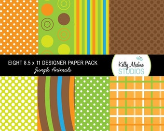 Jungle Animal - Designer Paper Pack Set Digital Elements for Cards, Stationery and Paper Crafts and Products