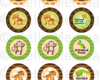Jungle Animals - 2 inch Circle Printable Digital Collage Sheet - Commercial use for Cupcake Toppers, Magnets, Paper Crafts and Products
