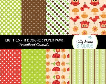 Woodland Animal - Designer Paper Pack Set Digital Elements for Cards, Stationery and Paper Crafts and Products