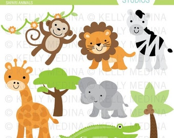 Safari Animals - Clip Art Set - Digital Elements Commercial use for Cards, Stationery and Paper Crafts and Products
