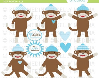 Sock Monkey Blue - Clip Art Set - Digital Elements Commercial use for Cards, Stationery and Paper Crafts and Products