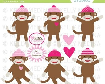 Sock Monkey Pink - Clip Art Set - Digital Elements Commercial use for Cards, Stationery and Paper Crafts and Products