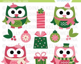 Christmas Owls - Pink and Green Clip Art Set - Digital Elements Commercial use for Cards, Stationery and Paper Crafts and Products