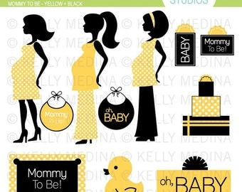 Mommy To Be - Yellow and Black - Clip Art Set - Digital Elements Commercial use for Cards, Stationery and Paper Crafts and Products