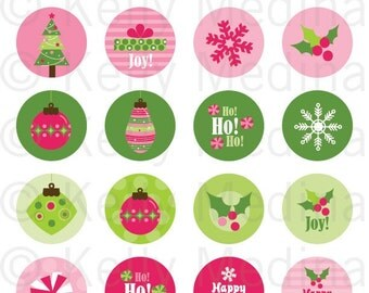 Christmas - Pink and Green - 1.5 Circle Digital Collage Sheet - Commercial use for Cupcake Toppers, Magnets, Paper Crafts and Products