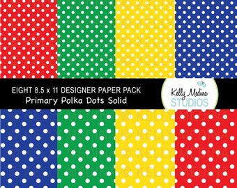 Polka Dots - White on Solid Primary Colors  - Designer Paper Pack Set Digital Elements for Cards, Stationery and Paper Crafts and Products