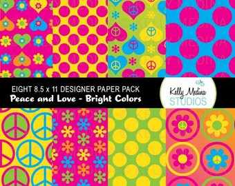Peace, Love and Flowers - Designer Paper Pack - Digital Elements for Cards, Stationery, Backgrounds and Paper Crafts and Products