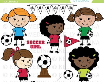 Soccer Girls - Clip Art Set - Digital Elements Commercial use for Cards, Stationery and Paper Crafts and Products