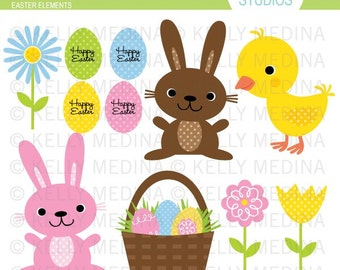 Easter Elements - Clip Art Set - Digital Elements Commercial use for Cards, Stationery and Paper Crafts and Products