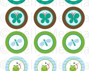 Frog and Pond - 2 inch Circle Digital Collage Sheet - Commercial use for Cupcake Toppers, Magnets, Paper Crafts and Products