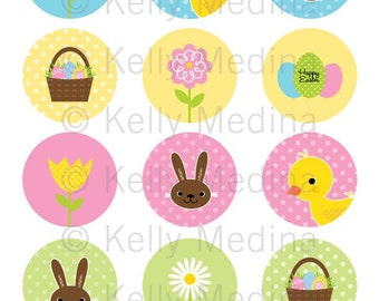 Easter Elements - 2 inch Circle Digital Collage Sheet - Commercial use for Cupcake Toppers, Magnets, Paper Crafts and Products
