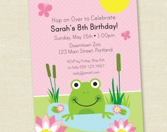 Frog Birthday - Pink - Printable Digital Birthday Invitation - Personal Use Only