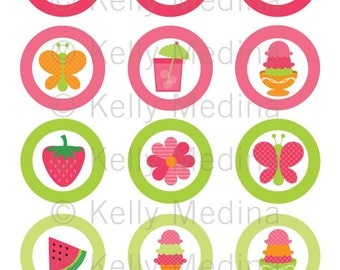 Summer Party - 2 inch Circle Digital Collage Sheet - Commercial use for Cupcake Toppers, Magnets, Paper Crafts and Products