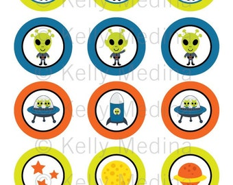 Alien and Spaceboys - 2 inch Circle Digital Collage Sheet - Commercial use for Cupcake Toppers, Magnets, Paper Crafts and Products