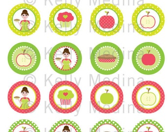 Baking Apple Pie - Clip Art 1.5 inch Circle Digital Collage Sheet - Commercial use for Cupcake Toppers, Magnets, Paper Crafts and Products