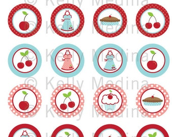 Baking Cherry Pie - Clip Art 1.5 inch Circle Digital Collage Sheet - Commercial use for Cupcake Toppers, Magnets, Paper Crafts and Products