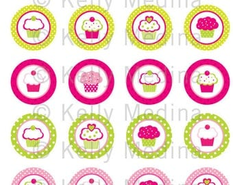 Cupcake Pink Green - Clip Art 1.5 inch Circle Digital Collage Sheet - Commercial use for Cupcake Toppers, Magnets, Paper Crafts and Products