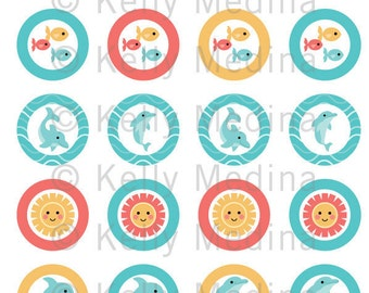 Dolphins  1.5 inch Circle Digital Collage Sheet - Commercial use for Cupcake Toppers, Magnets, Paper Crafts and Products