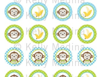 Monkey Boy - Clip Art 1.5 inch Circle Digital Collage Sheet - Commercial use for Cupcake Toppers, Magnets, Paper Crafts and Products