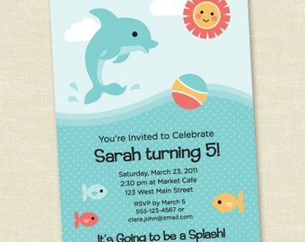 Custom Dolphin Birthday - Aqua - Personalized Printable Digital Invitation - Personal Use Only